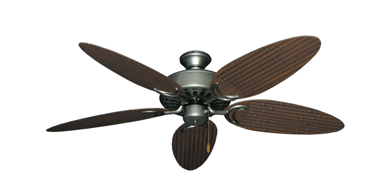 """Picture of Dixie Belle Brushed Nickel with 52"""" Outdoor Bamboo Brushed Nickel Blades"""