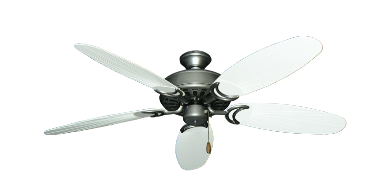 """Dixie Belle Brushed Nickel with 52"""" Outdoor Leaf Pure White Blades"""