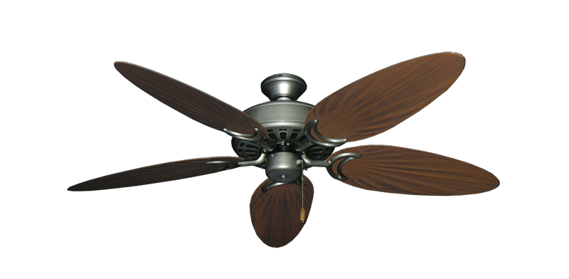 "Dixie Belle Brushed Nickel with 52"" Outdoor Palm Brushed Nickel Blades"