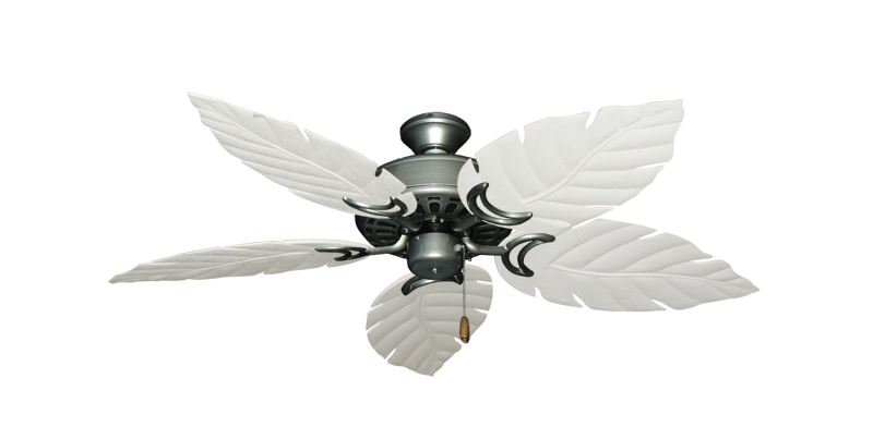 "Picture of Dixie Belle Brushed Nickel with 52"" Venetian Pure White Blades"