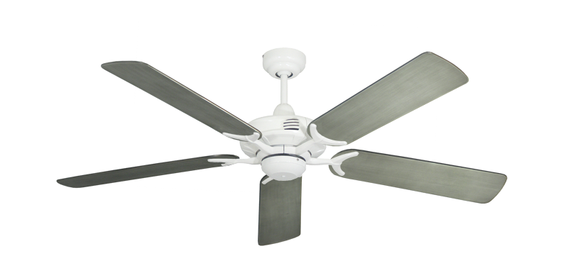 """Picture of Coastal Air Pure White with 52"""" Outdoor Brushed Nickel BN-1 Blades"""