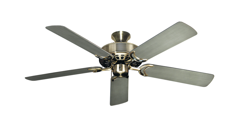 """Dixie Belle Antique Brass with 52"""" Outdoor Brushed Nickel BN-1 Blades"""