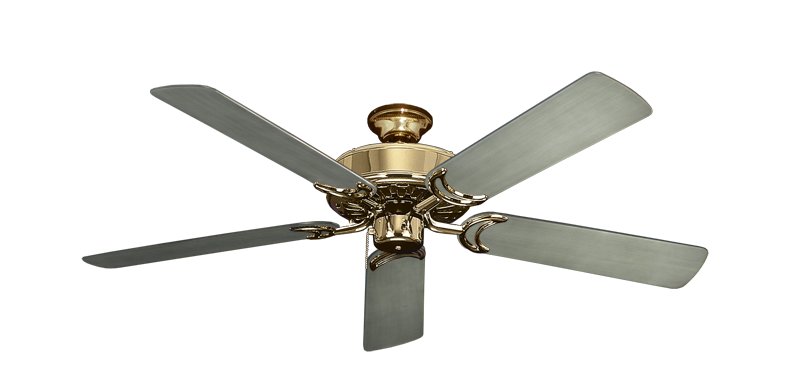"Picture of Dixie Belle Bright Brass with 52"" Outdoor Brushed Nickel BN-1 Blades"