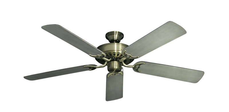 """Picture of Bimini Breeze V Antique Brass with 52"""" Outdoor Brushed Nickel BN-1 Blades"""