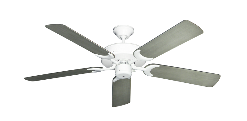 "Patio Fan Pure White with 52"" Outdoor Brushed Nickel BN-1 Blades"