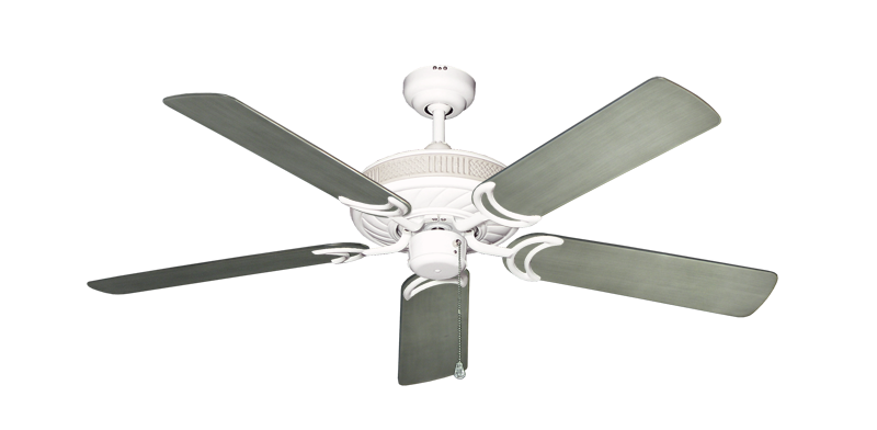 "Atlantis Pure White with 52"" Outdoor Brushed Nickel BN-1 Blades"