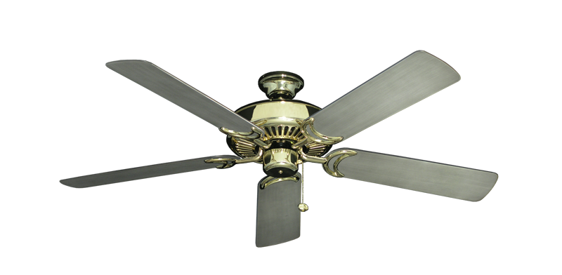 """Picture of Riviera Bright Brass with 52"""" Outdoor Brushed Nickel BN-1 Blades"""