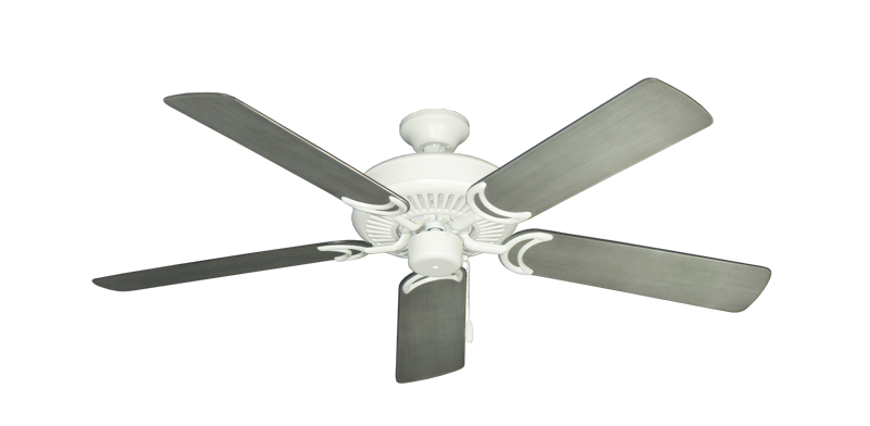 "Picture of Riviera Matte Pure White with 52"" Outdoor Brushed Nickel BN-1 Blades"