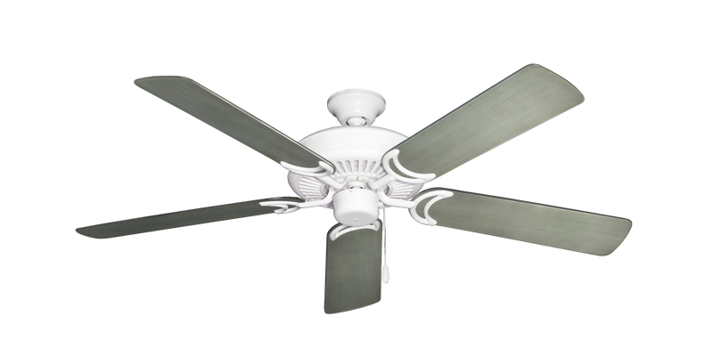 """Picture of Riviera Pure White with 52"""" Outdoor Brushed Nickel BN-1 Blades"""