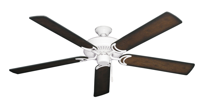 """Picture of Riviera Pure White with 60"""" Distressed Hickory Blades"""