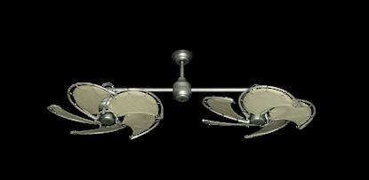 "Twin Star III Brushed Nickel with 30"" Nautical Fabric Khaki Blades"