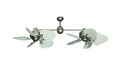"Picture of Twin Star III Brushed Nickel with 30"" Nautical Fabric Pure White Blades"