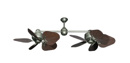 """Twin Star III Brushed Nickel with 35"""" Leaf Oil Rubbed Bronze Blades"""