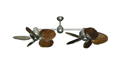 "Picture of Twin Star III Brushed Nickel with 35"" Series 600 Arbor Dark Walnut Blades"