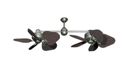 "Picture of Twin Star III Brushed Nickel with 35"" Wicker Oil Rubbed Bronze Blades"