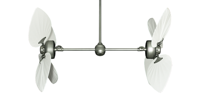 """Twin Star III Brushed Nickel with 50"""" Bombay Pure White Blades"""