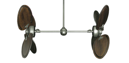 """Picture of Twin Star III Brushed Nickel with 50"""" Series 950 Arbor Dark Walnut Blades"""