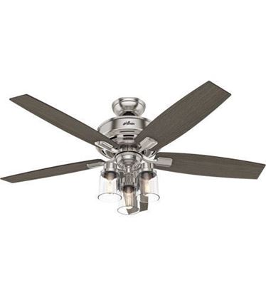 "Picture of Hunter  52"" Bennett Brushed Nickel Ceiling Fan with LED Light and Handheld Remote, Model 54190"