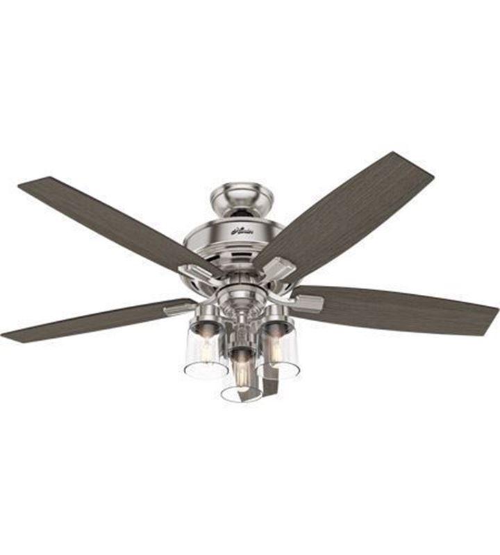 "Hunter  52"" Bennett Brushed Nickel Ceiling Fan with LED Light and Handheld Remote, Model 54190"