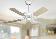 """42"""" Bermuda Breeze Ceiling Fan in Pure White w/Bleached Oak Blades"""