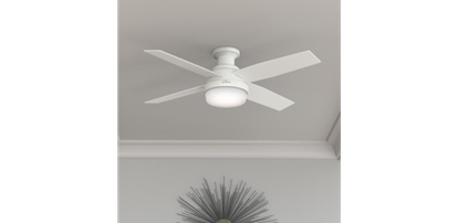 "Hunter 52"" Dempsey with Light Fresh White Ceiling Fan with Light with Handheld Remote, Model 59217"