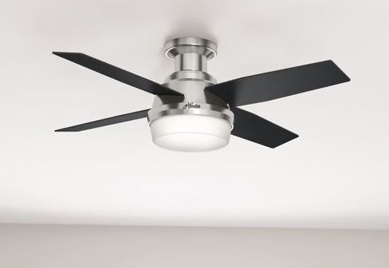 """Hunter 44"""" Dempsey Low Profile with Light Brushed Nickel Ceiling Fan with Light with Handheld Remote, Model 59243"""