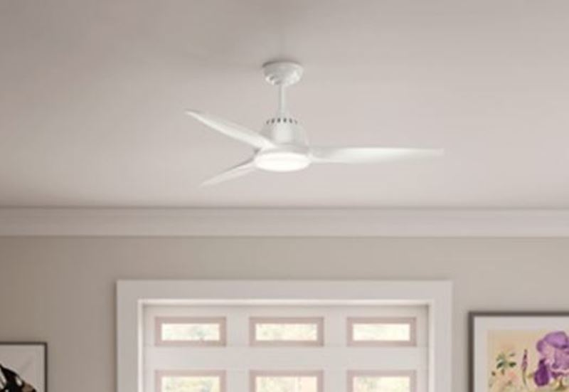 """Casablanca 52"""" Wisp Fresh White Ceiling Fan with LED Light and Handheld Remote, Model 59284"""