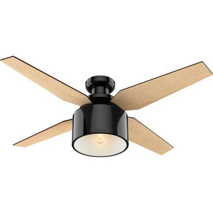 Cranbrook 52 inch Gloss Black with Mid Century Walnut/Blonde Oak Blades Ceiling Fan, Low Profile