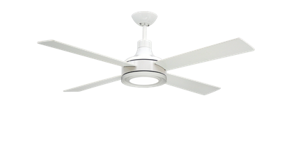"""Quantum II 52"""" Pure White Ceiling Fan w/LED Light and Remote"""