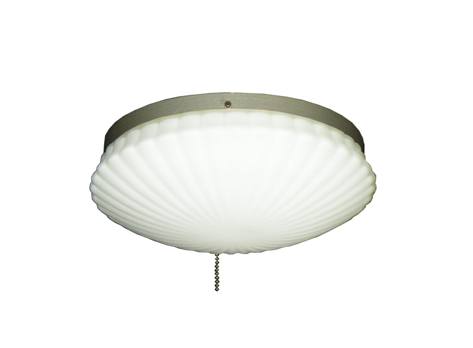 Ceiling Fan Low Profile Light With Oval Pleated White