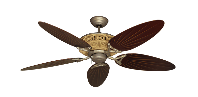 Tiki Ceiling Fan In Antique Bronze With 52 Quot Outdoor Palm
